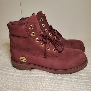 Girls/Womens Maroon Timberland Boots With Gold